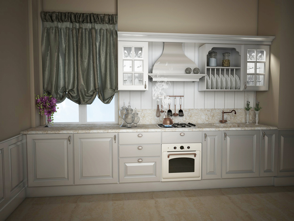 render cucina classica bianca